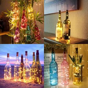 Image 5 - 포함 된 배터리 전원 화환 와인 병 조명 코르크 구리 와이어 다채로운 요정 조명 문자열 파티 웨딩 장식