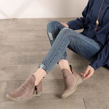 2019 Winter Ankle Booties Lady Fashion Women s Natural Cow Leather Boots Handmade New Arrival Low Heel Short Shoes Female