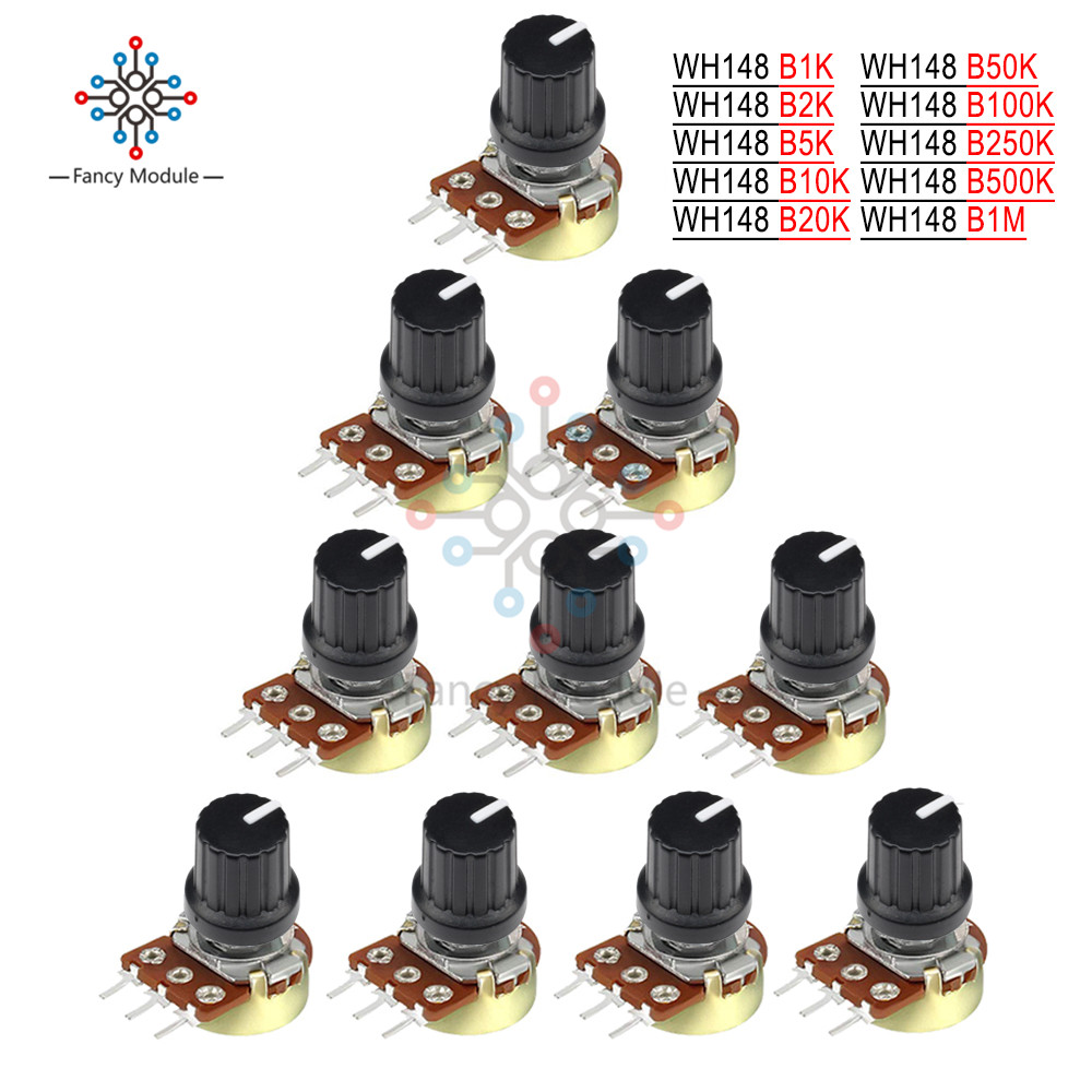 5PCS/Lot Potentiometer <font><b>Resistor</b></font> 1K 5K 10K 20K 50K 100K 500K <font><b>1MOhm</b></font> 3 Pin Linear Taper Rotary Potentiometer for Arduino with Cap image