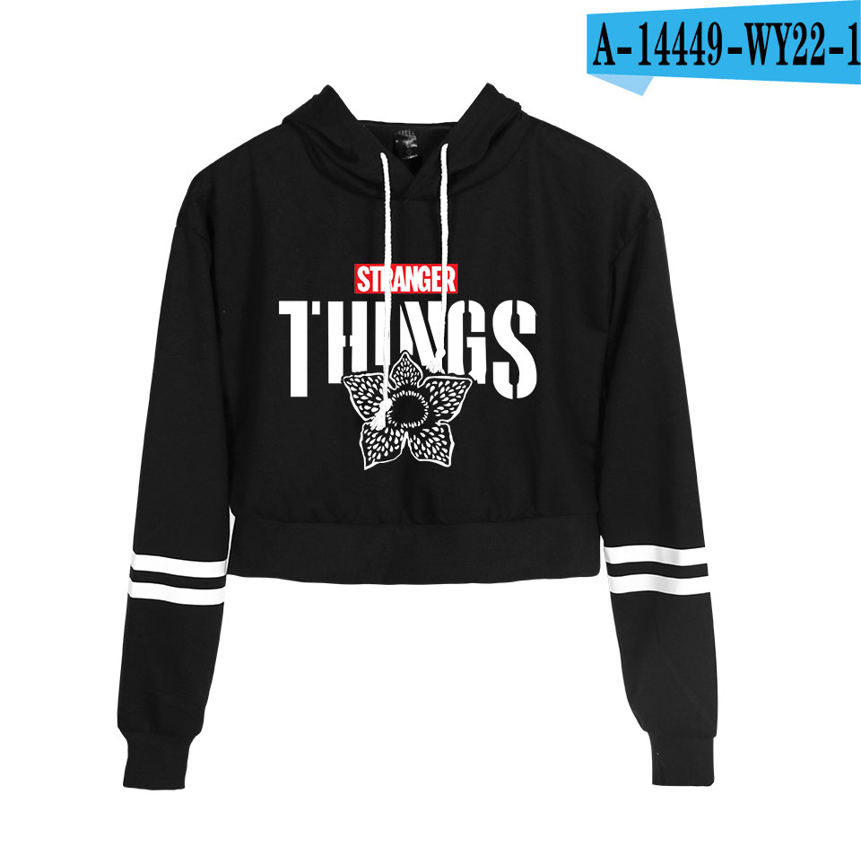 Stranger Things Hoodie Sexy Women Spring Autumn High Waist Black Short Sweatshirt Ladies Hoodies Casual Cute Crop Tops