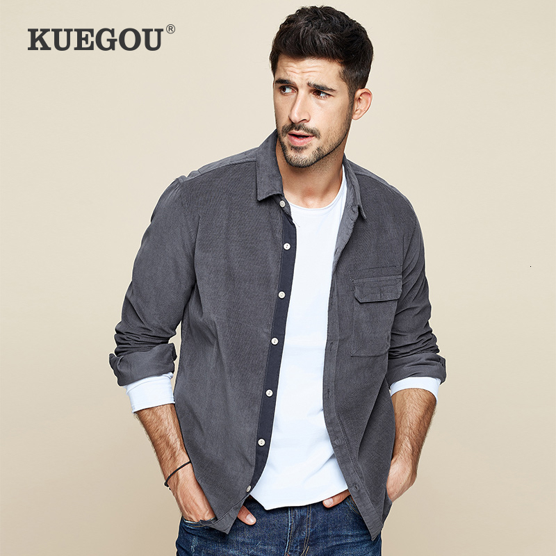 KUEGOU 2019 Autumn Thick 100% Cotton Gray Pocket Shirt Men Dress Casual Slim Fit Long Sleeve Male Brand Blouse Plus Size 6613