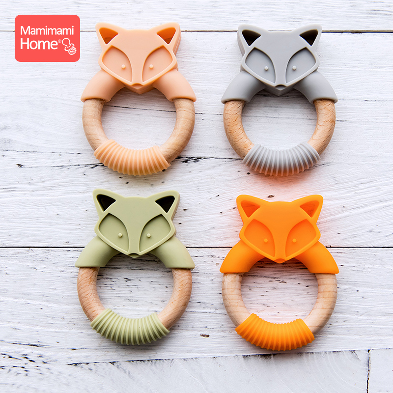 Mamihome Baby Wooden Teether Ring Fox Silicone Rodent Wooden Blank Teether Ring Food Grade Silicone Children's Goods Nurse Gift