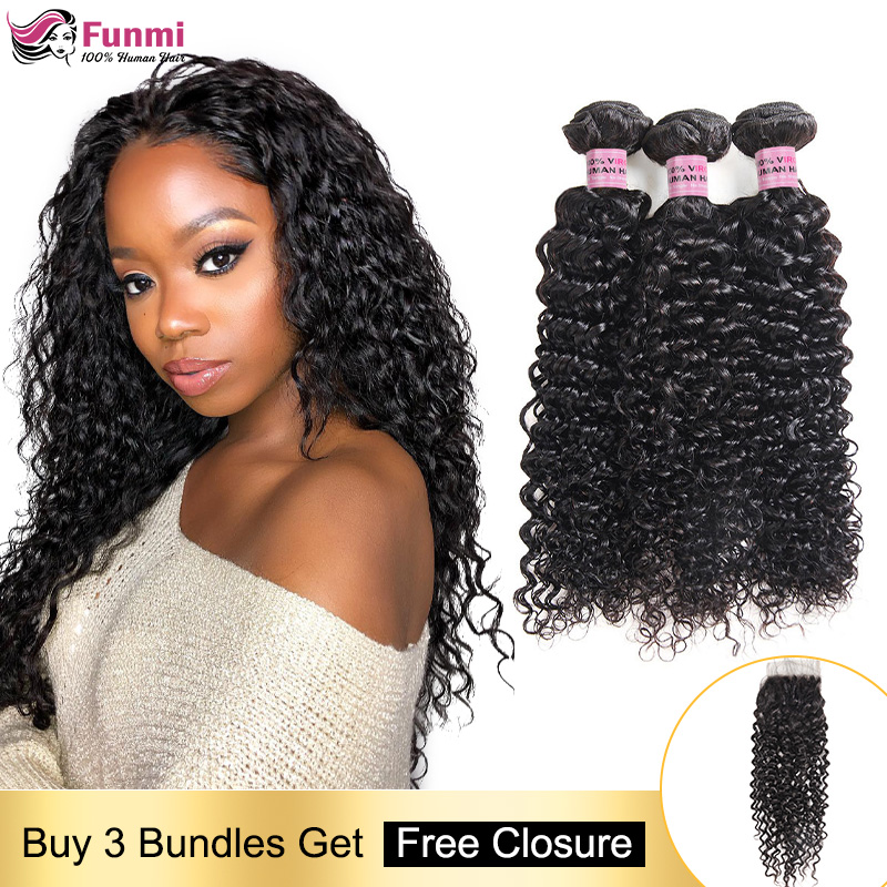 Free Closure Curly Human Hair Bundles Brazilian Hair Weave Bundles Curly Hair Bundles With Closure Human Hair Bundles Non-Remy