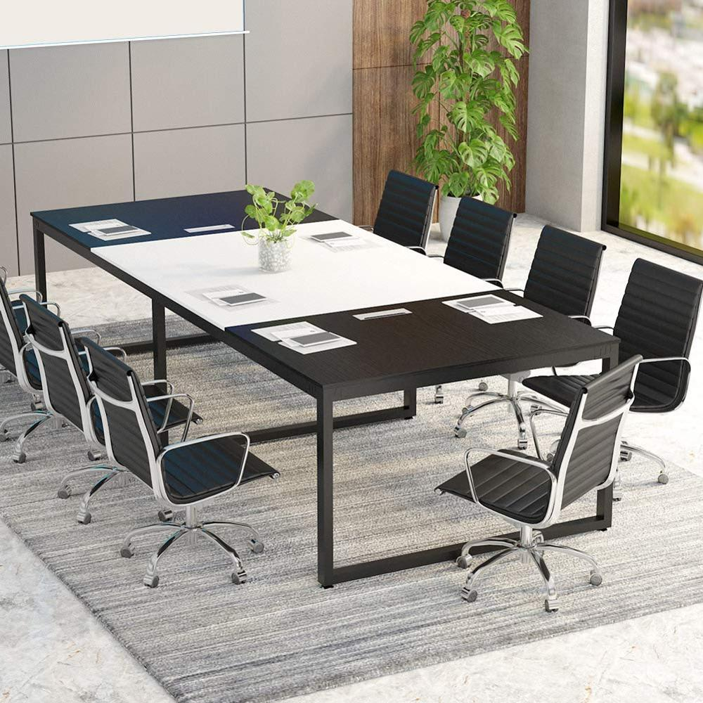 """Tribesigns 8FT Rectangular Conference Table Black&White Desk W/ 94""""L*47""""W Spacious Tabletop"""