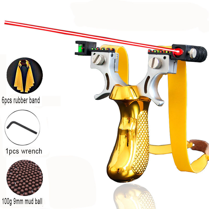 2019 New High Precision Outdoor Hunting Slingshot Laser Aiming Slingshot with Flat Rubber Band Outdoor Game Sling Shot Set(China)