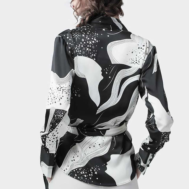 Fashion Chiffon Print Long Sleeve Women Blouses Korean V Neck Slim Harajuku Shirts Female Summer Elegant Blusas Mujer 2
