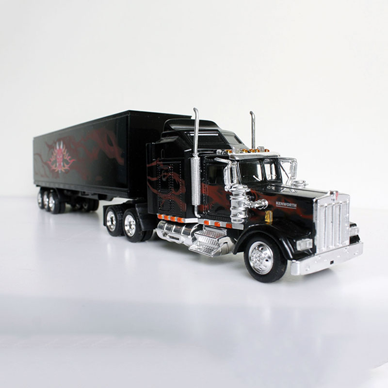 1/43 Scale Classic American KENWORTH W900 Cargo Truck Container Trailer Vehicles Car Diecast Model Collection Gifts Show Toy Car