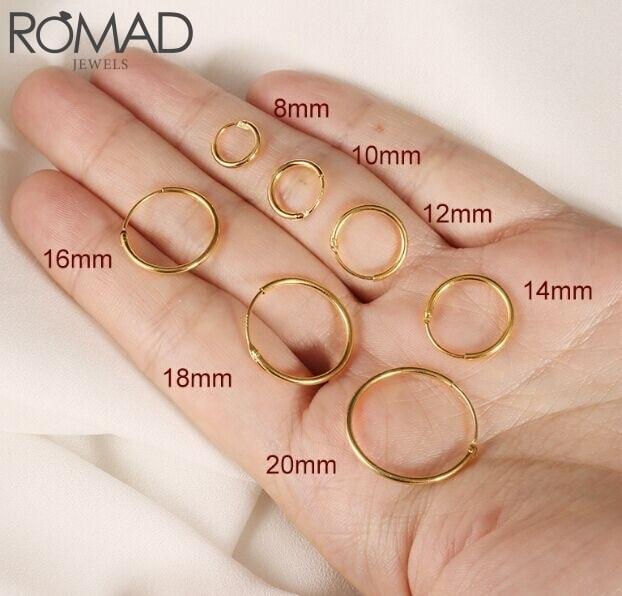 ROMAD 925 srebro kolczyki dla kobiet/mężczyzn kolczyki małe kółka kość do ucha aros Tiny ucho nos pierścień dziewczyna aretes Ear hoops R5