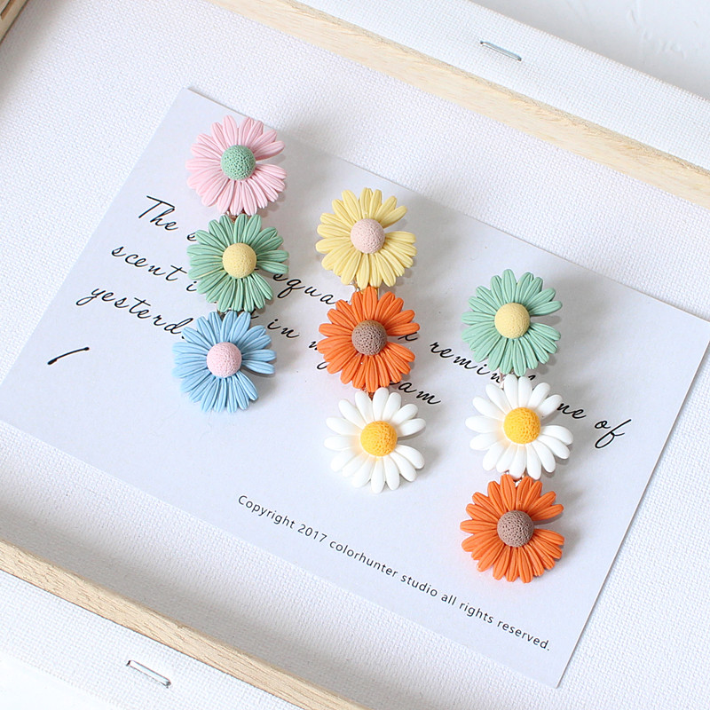 1pc Girls Pretty Lovely Daisy Flower Hair Clips Barrettes Mix Colorful Resin Floral Hairpins Holiday Hair Accessories As Gift