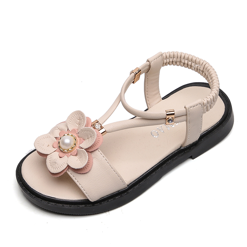 Sandals Girls Kids Sandals Princess Sweet Flower Children Summer Beach Shoes 2020 Brand New Soft Sweet Floral With Pearl 26-36