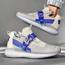 New Breathable Trend Sneakers Fashion Buckle Zipper Men's Casual Shoes