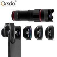 Orsda HD 4K Mobile Phone Camera Lens Kit 18X Telephoto Lens with Fish Eye Wide Angle Macro 2X Telescope Lenses for Smartphones