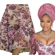 Bestway – tissu de luxe français en dentelle, 5 Yards, paillettes brodées, Robe africaine nigériane Asoebi sur mesure