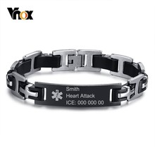 Wrist Bracelet Medical-Alert Gifts Stainless-Steel Men's Vnox for Christmas-Thanksgiving