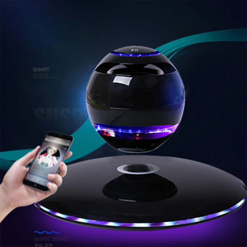 ABHU-New Magnetic Levitation 3D Bluetooth Speaker Rotating With Colorful LED Support For IOS Android Phone Hands-Free Calls Blac