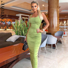 FANTOYE Spring New Green Ruched Dress Sexy Women Backless Bo