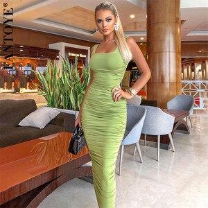 FANTOYE wiosna nowy zielony marszczona sukienka Sexy kobiety Backless Bodycon Party Dress kobieta dorywczo elastyczna sukienka Midi 2020 Streetwear