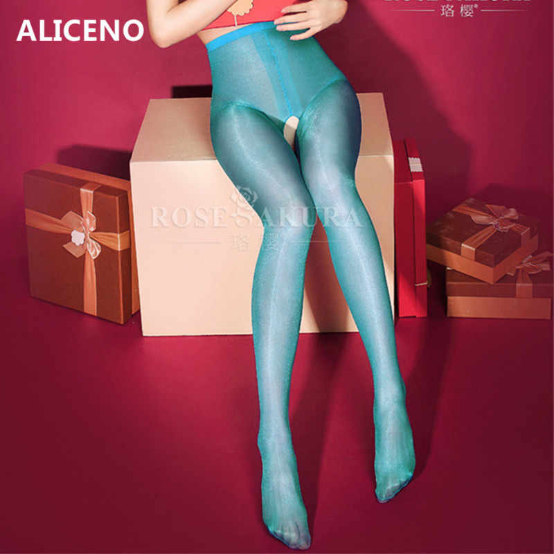 Vrouwen 30 Deniers Olie Glans Hoge Taille Panty Glitter Panty Open Kruis Sexy Shiny & Lustre Benen 0805