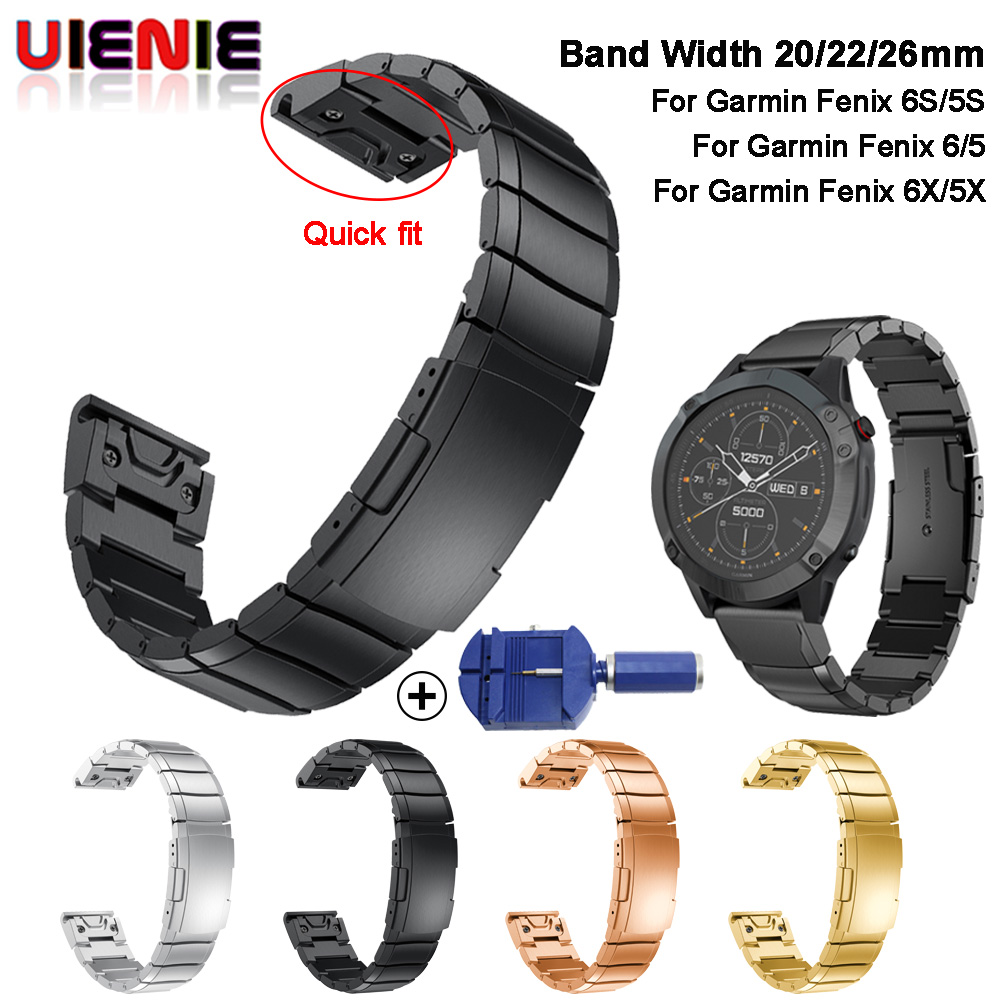 26 22 20MM Watchband Strap For Garmin Fenix 6S 6X 6 Pro 5X 5 5S 3HR D2 S60 Watch Quick Release Stainless Steel Wrist Band Strap