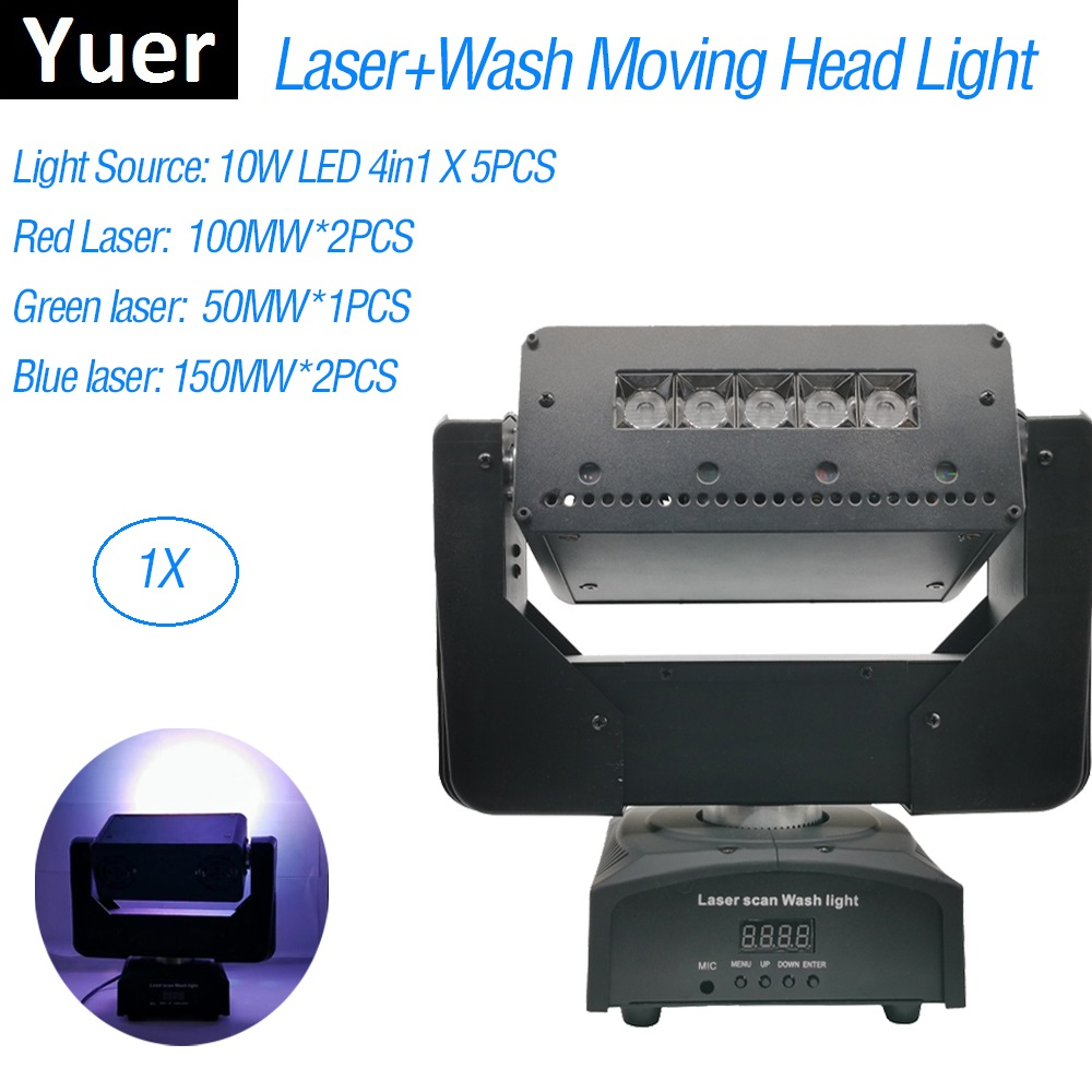 3IN1 Wash / Laser / Strobe Light 5X10W Moving Head Light 550MW DMX512 Laser Light DJ /Bar /Party /Stage Light Laserprojector