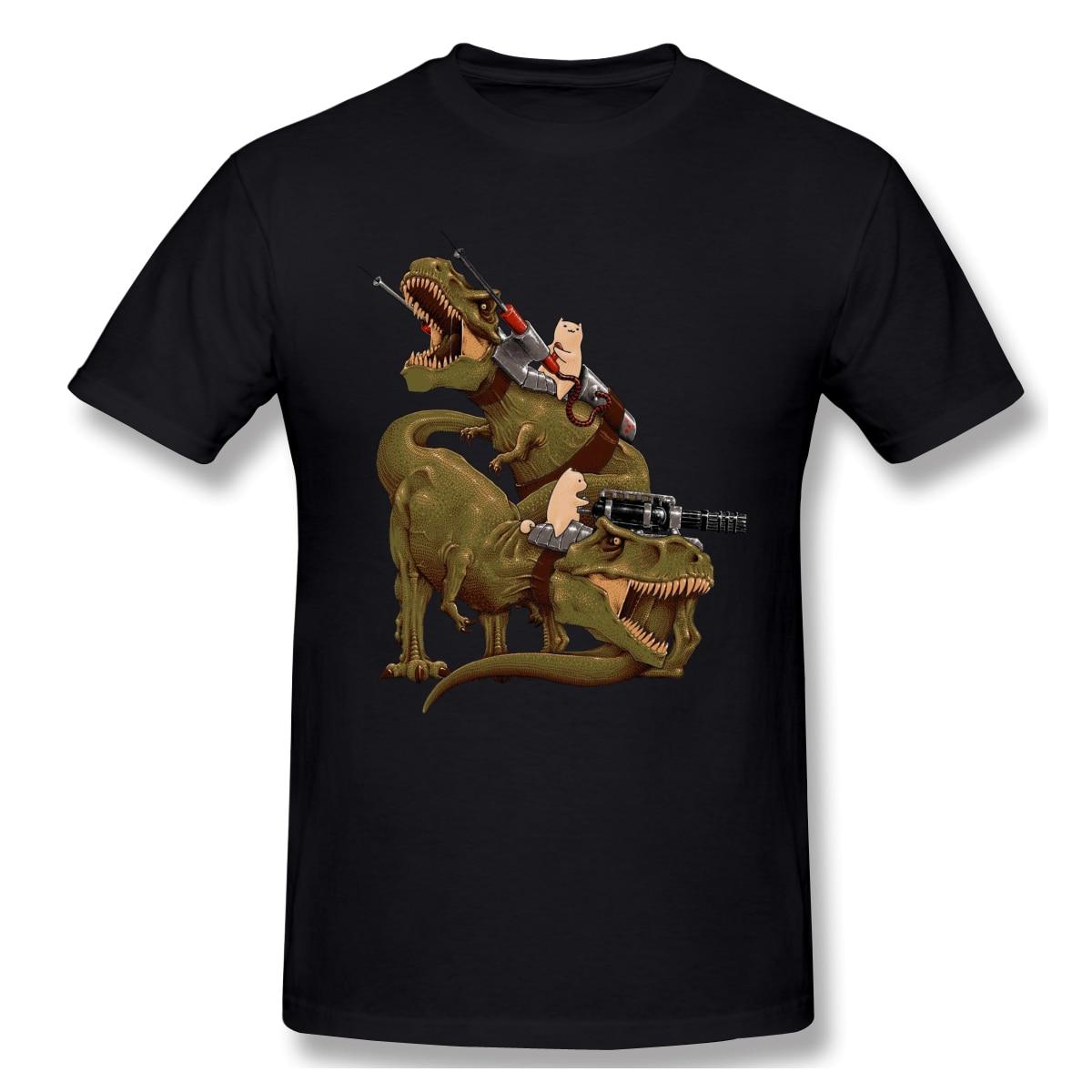 CATS RIDING T-REXS Print New Summer Cotton Funny T Shirts Short sleeves T-shirt Men Fashion Streetwear Tide brand