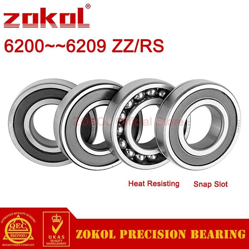 ZOKOL 6200 6201 6202 6203 6204 6205 6206 6207 6208 6209 Z ZZ RS 2RS N Deep Groove ball bearing Snap Slot Heat Resisting bearings