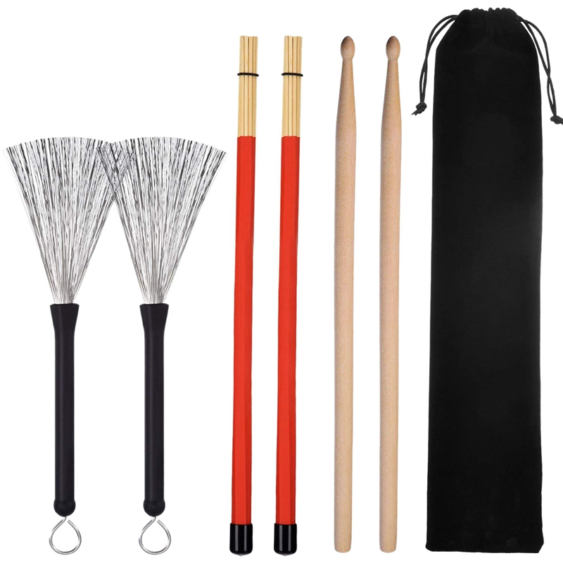 1 Pair 5A Drum Sticks Classic Maple Wood Drumsticks Set 1 Pair Drum Wire Brushes Retractable Drum Stick Brush And 1 Pair Rods Dr