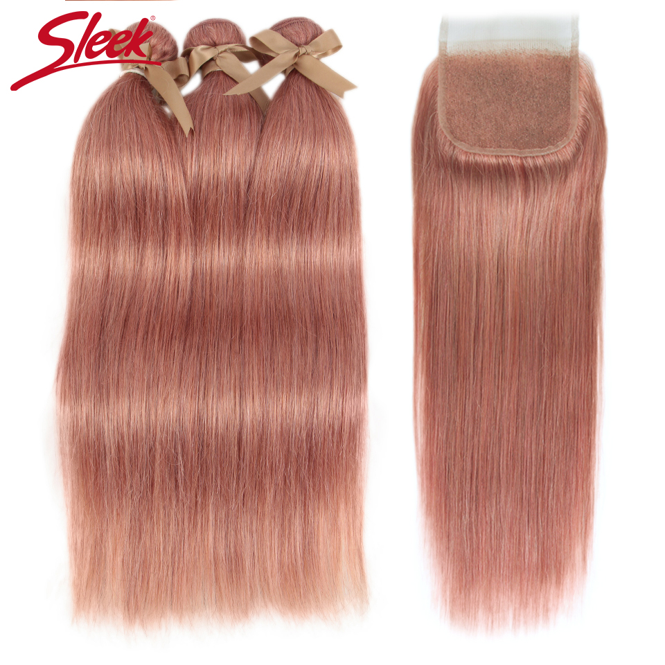 Sleek Brazilian Straight Hair Bundles With Closure S PINK 8 Hair Weave 10-26 Inches Remy Human Hair 3 Bundles With Closure