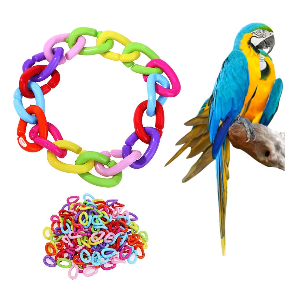 100Pcs/lot Plastic Parrot Toys C-clips Hooks Chain C-links Sugar Glider Rat Parrot Bird Toy Parts Parakeet Bird Accessories