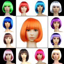 15 цветов, Модный женский парик БОБО для косплея, прямые короткие парики, для рождества, карнавала, макияж, вечерние, для клуба, синтетические женские парики для девушек