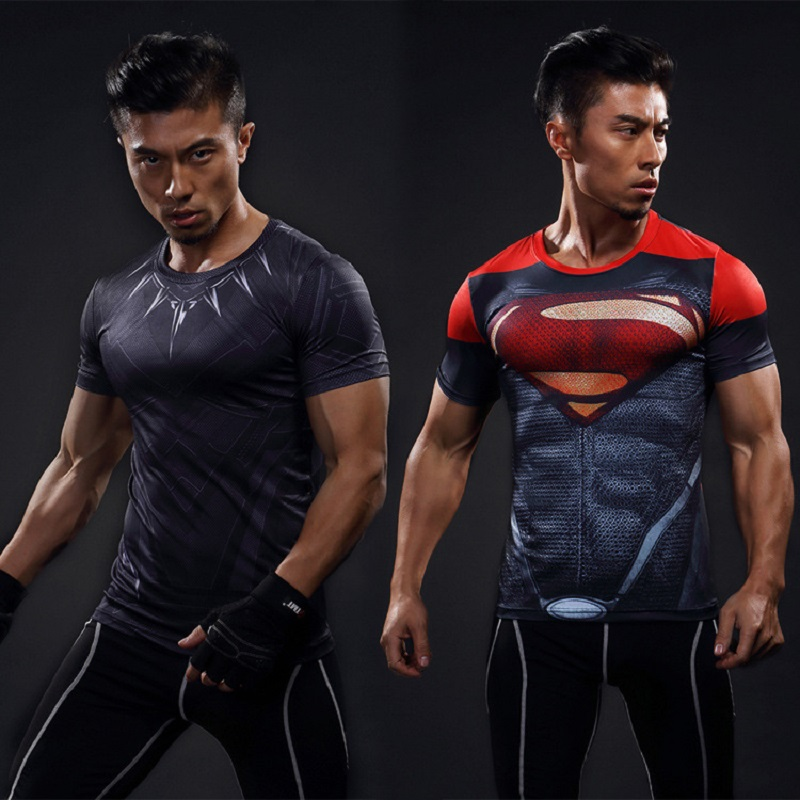 running - Men's Short Sleeve Superhero 3D Printed T-shirt Captain America Superman T-shirt Men's Fitness Compression Shirt Anime T-shirt