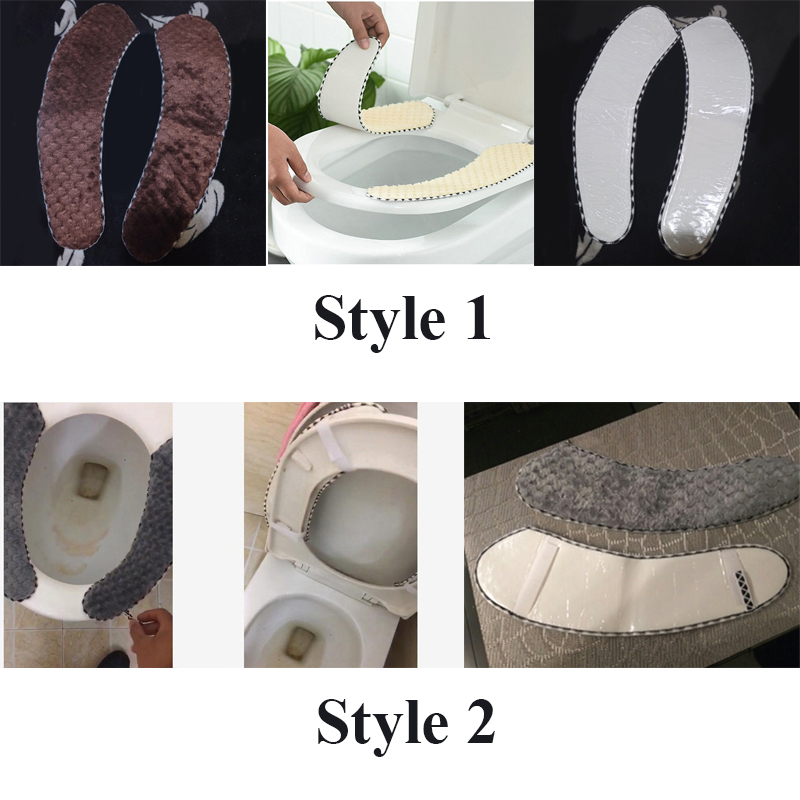 2 Styles Bathroom Toilet Seat Cushion Closestool Washable Soft Warmer Mat Pad Toilet Seat  Toilet Seat