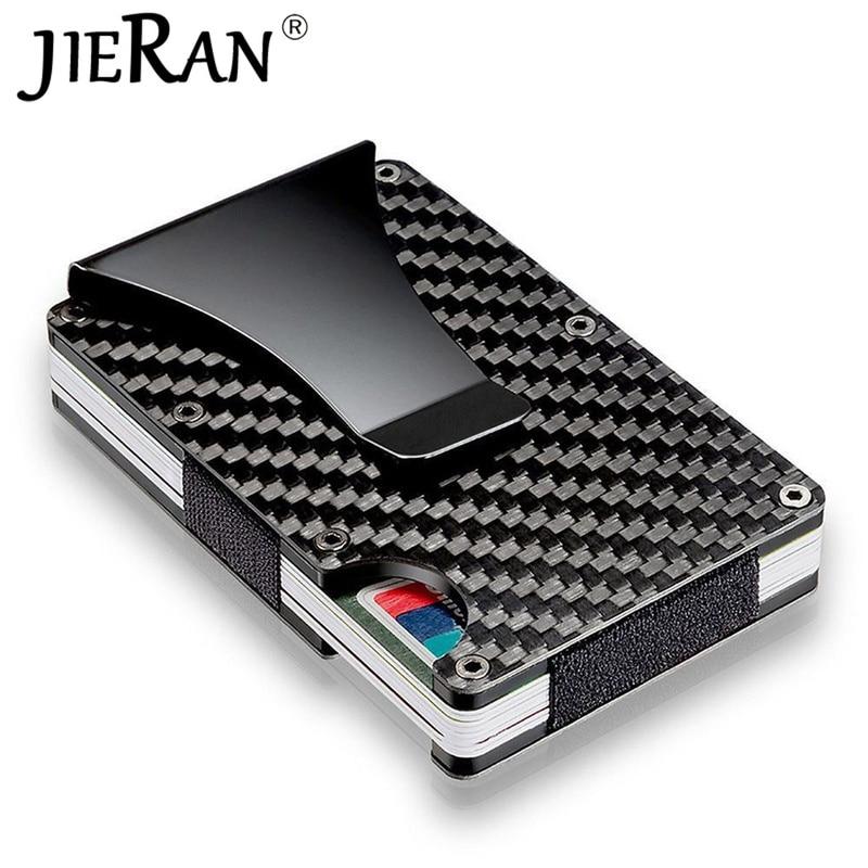Carbon Fiber Wallet Slim Metal Credit Card Holder Hot New Design Minimalist Rfid Blocking Men Cardholder Anti Protect Clip Sets