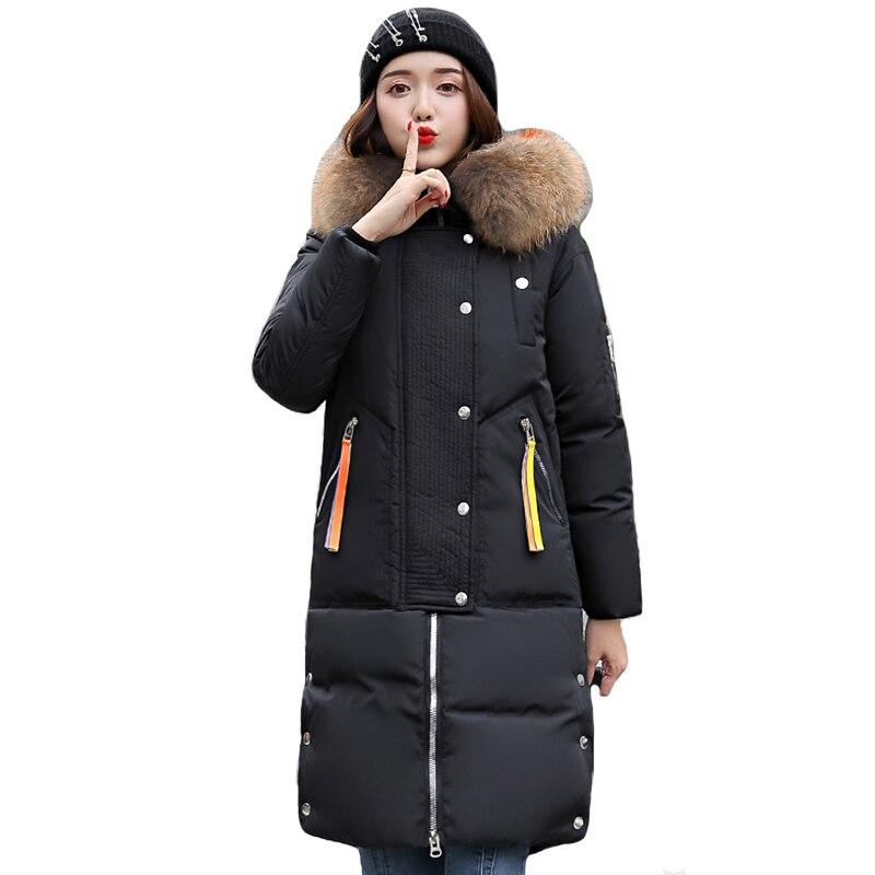 Fashion Winter Coat New Design Women Jackets Thick Down Parkas Big Fur Hooded Cotton Long Coats Warm Windbreaker Female Outwear