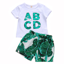 1-5Y Baby Boys Summer Clothes ABCD White T-shirt+Green Banana Leaf Short Pants Sets Toddler Clothing Kids Outfits
