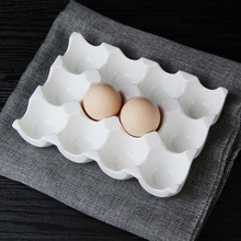Creative ceramic 6 grid 12 grid egg tray Household kitchen refrigerator fresh egg storage box baking tableware baking egg tray