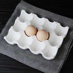 Image 1 - Creative ceramic 6 grid 12 grid egg tray Household kitchen refrigerator fresh egg storage box baking tableware baking egg tray