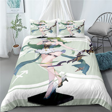 New adult bedroom cyan 3-piece quilt cover anime girl HD printing microfiber small quilt cover cover girl spf22