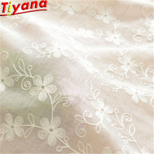 White Flower Embroidered Tulle for Living Room Sheer Voile Plum Shape Embroidery Window Drapes Yarn pj0015-17#40