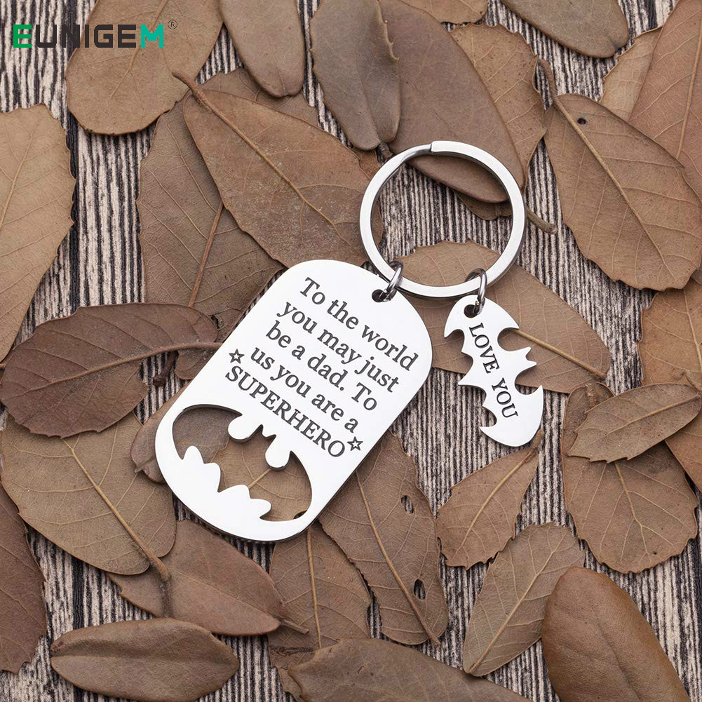 Father Key Chains Fathers Day Gifts Dad Birthday Gift Keychains for Daddy Step Dad To Be Husband From Daughter Son Wife Kids