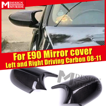 Carbon Fiber Side Mirror Cover Cap 1M Add on style For BMW 3 Series LCI E90 Sedan M3 Look Caps 1:1 Replacement 2Pcs 08-11