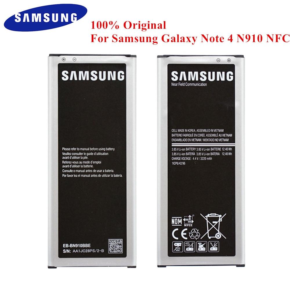 100 original battery eb bn910bbe for samsung galaxy note 4 n910a n910u n910f n910h n910g n910k n910l n910s n910c n910w8 nfc