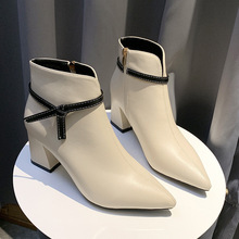 2019 Fashion Women 7cm High Heels Fetish Zip Boots Leather Block White Heels Sock Ankle Boots Chunky Shoes Pointed Toe Pumps стоимость