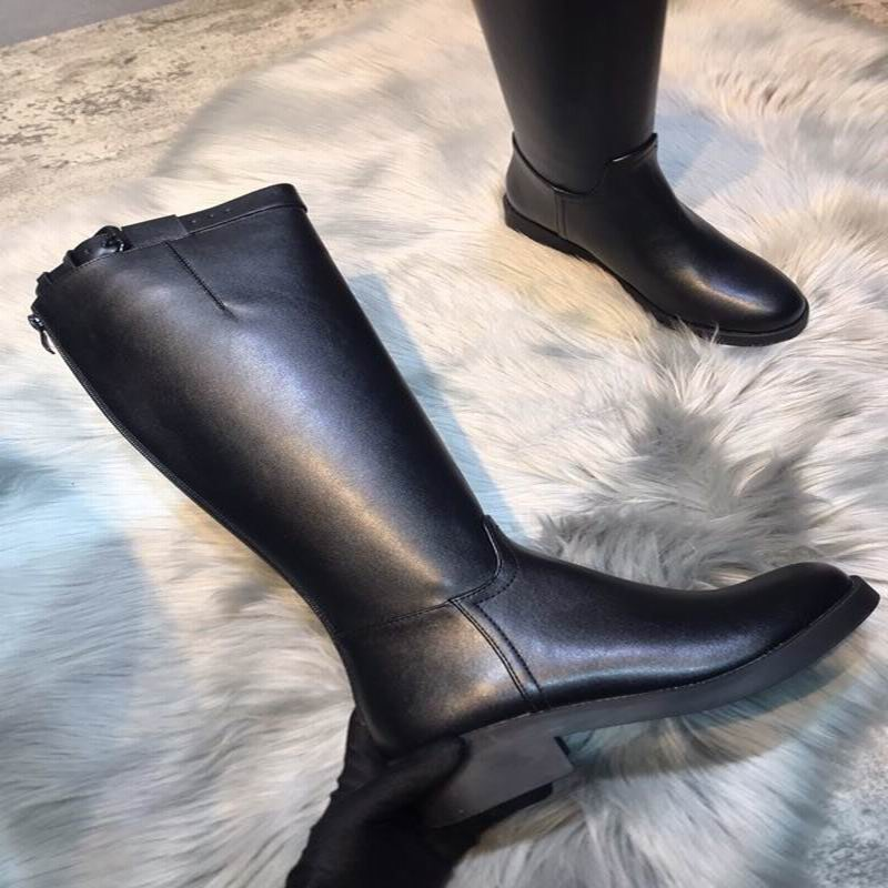 Knight boots female high tube long tube fashion 2019 autumn and winter new leather boots riding boots warm wild increased - 5