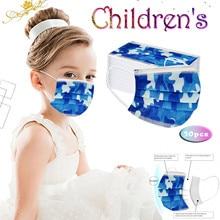 Camouflage-Mask Disposable Kids Children's Mascarilla Thicken 50PC 3-Layer Earloop Hygiene