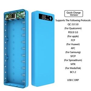 Чехол 10*18650 для быстрой зарядки, двойной USB мобильный телефон, зарядка QC 3,0 PD, корпус для самостоятельной сборки, держатель аккумулятора 18650, з...