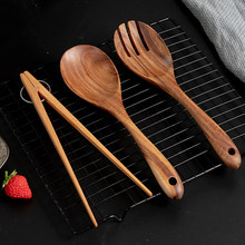 Kitchen Cooking Utensils Large Wooden Spoon Fork Set BBQ Tongs Fruit Food Serving Tongs Salad Spoon Set Wooden Cooking Tools