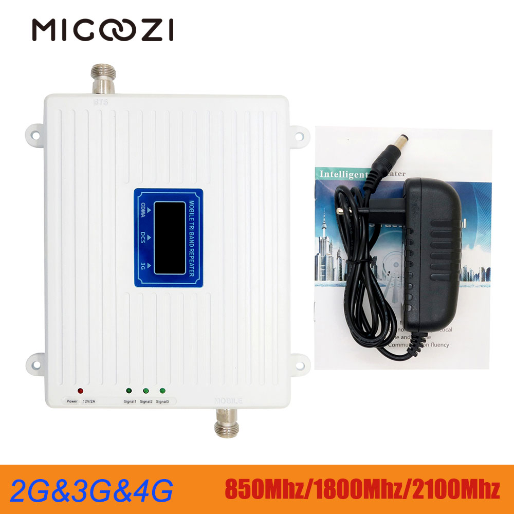 Migoozi 2g 3g 4g Tri Band Signal Repeater  850Mhz 1800Mhz  2100Mhz Mobile Phone LTE Cellular Booster Amplifier CDMA WCDMA DCS