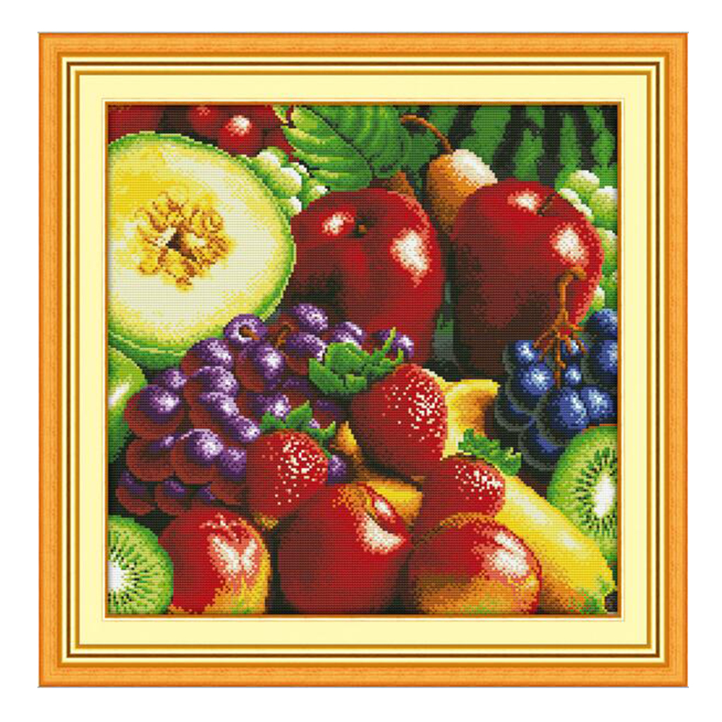 Joy Sunday Stamped & Counted Cross Stitch Kits 11CT Aida Cloth for Beginners Embroidery DIY Gifts Fruits Pattern image