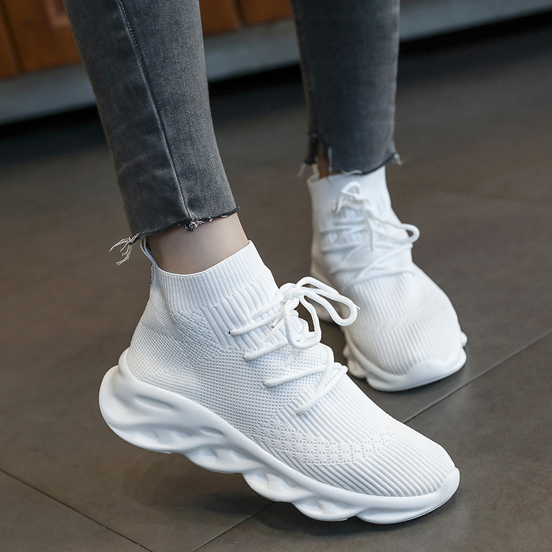 Autumn Single Shoes Stretch Socks Shoes Female Students High Help Wild Breathable Sports Large Size Women Running Shoes ZQ-29
